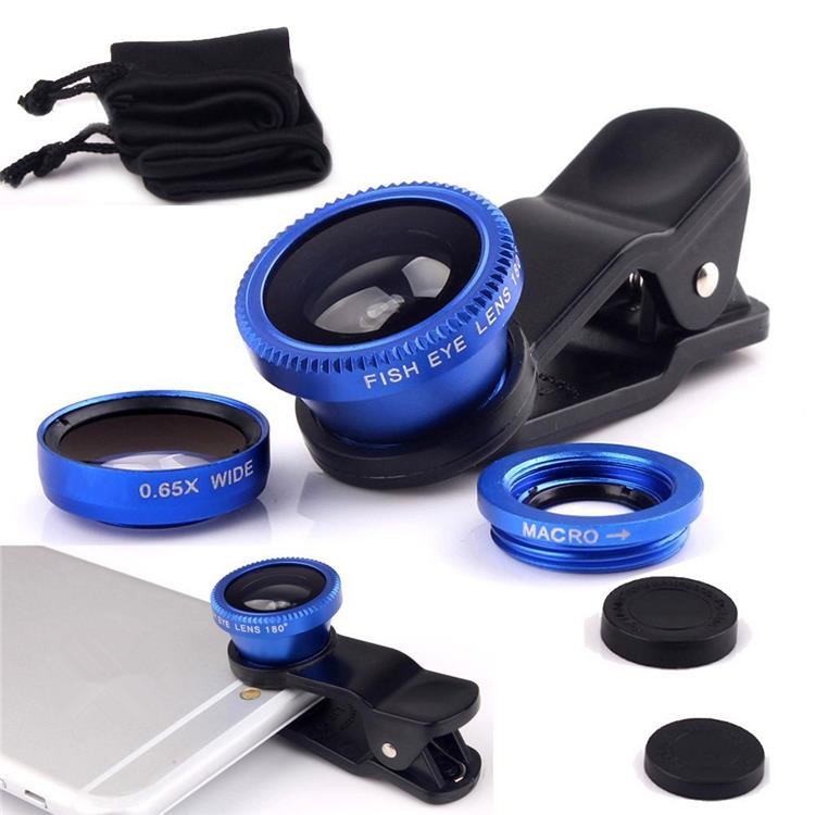 Universal 3 in 1 Fish Eye Macro Wide Angle Mobile Phone Lenses For iphone 5 6 For Samsung Galaxy s5 For IPhone Blue+black