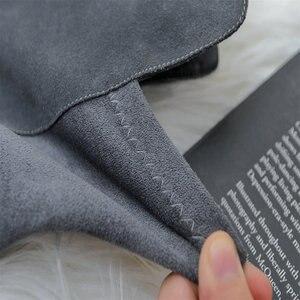 Image 5 - 上でセクシーなブーツの女性のスエード革の厚さのハイヒールの女性のブーツ秋冬黒グレーパーティー靴女性
