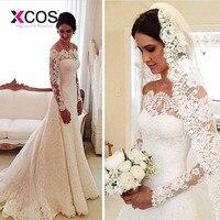 XCOS дешевые элегантные кружевные Свадебные платья Русалочки 2018 одежда с длинным рукавом свадебные платья с плеча аппликации vestido de noiva
