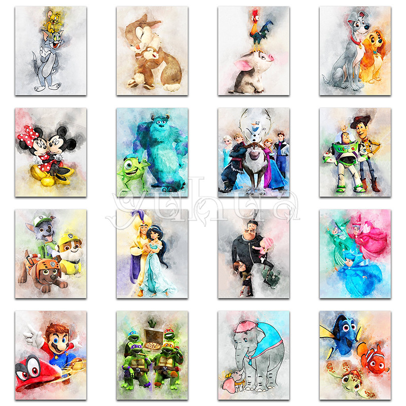 Diamond Painting Cartoon Disney Mickey Mouse Mario Cat Full Square Diamond Embroidery Cross Stitch Full Round Diamond Mosaic Toy(China)