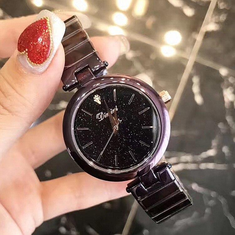 2018 Latest Luxury lady Crystal Watch Women black Dress Watch.Fashion Gift Rose Gold Watches Female Purple Wristwatches Hot sale