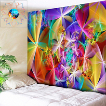 Boho Art Wall Tapestry Rainbow Flower Abstract Mandala Hanging tapiz pared tela Psychedelic Yoga Gobelin