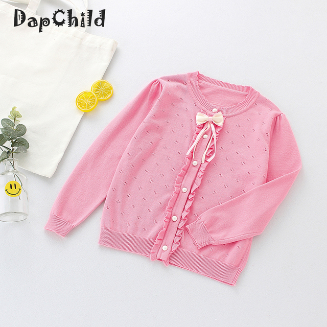 5e1960255 DapChild Girls Sweaters Spring baby clothes Ribbon Bow knot Kids ...