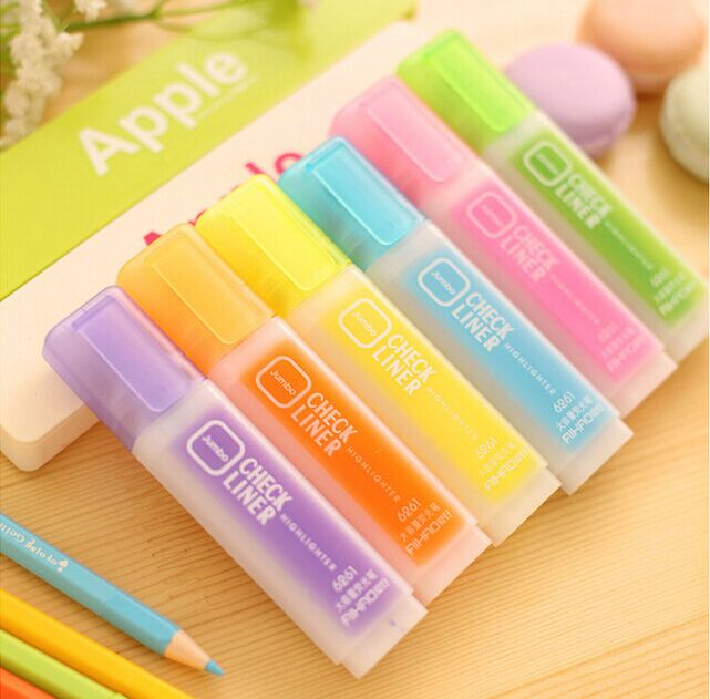 6pcs DIY high-capacity candy color Fluorescent Highlighter Pen Water Color Marker Pen for Paint Draw School Supplies Stationery