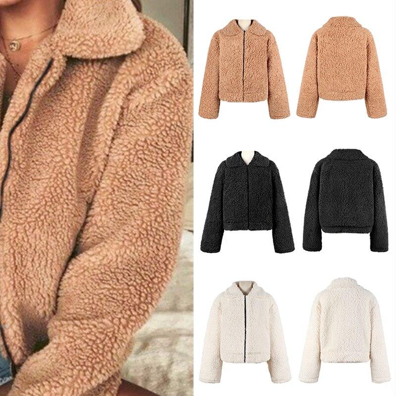 les ventes chaudes e5c79 5b95c US $10.32 40% OFF|Jacket Womens Thick Warm Teddy Bear Fleece Jacket Coat  Zip Up Outwear Overcoat Tops Winter Jacket Women Coat Manteau Femme  Hiver-in ...
