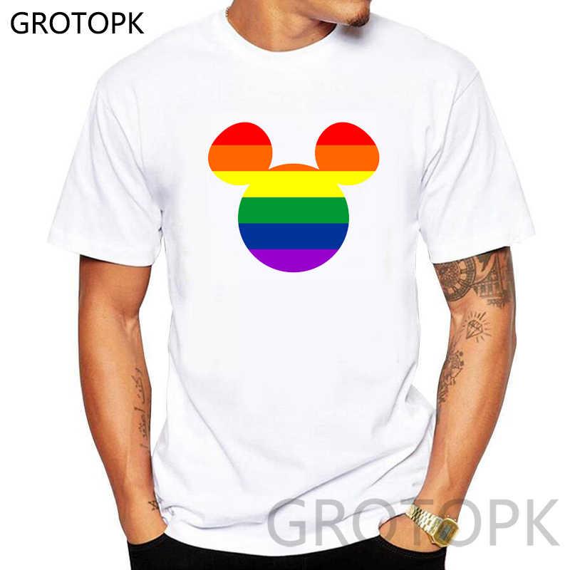 """Creative מיקי עיצוב חולצת טי גברים ונשים הגאווה להט""""ב הומו לסבית קשת הדפסי Harajuku מזדמן T חולצה יוניסקס זוג בגדים"""