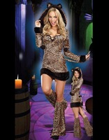 Sexy Adult Women Furry Luscious Animal Costume Halloween Outfit Fur Leopard Hooded Jumpsuit Catwoman Cosplay W418614