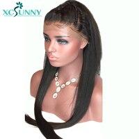 Xcsunny шелковистой прямо бразильский Full Lace натуральные волосы парики с ребенком волос Glueless Волосы remy предварительно выщипать отбеленные узлы