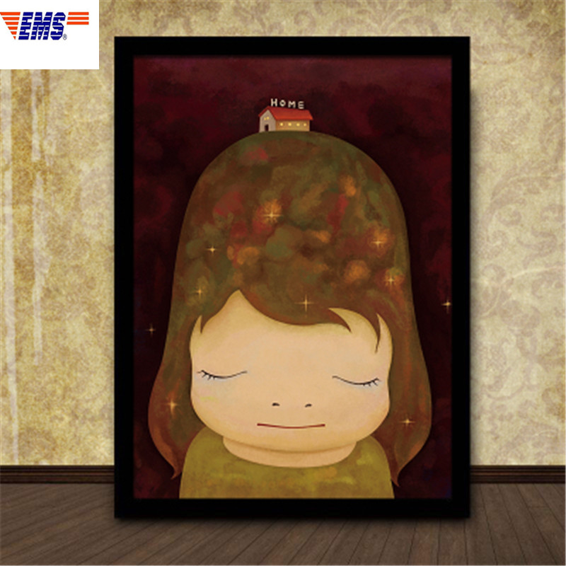 70X50CM Graffiti Inbetweening Nara Yoshitomo Cartoon Decorative Picture Childrens Bedroom Solid Wood Frame Painting X116770X50CM Graffiti Inbetweening Nara Yoshitomo Cartoon Decorative Picture Childrens Bedroom Solid Wood Frame Painting X1167
