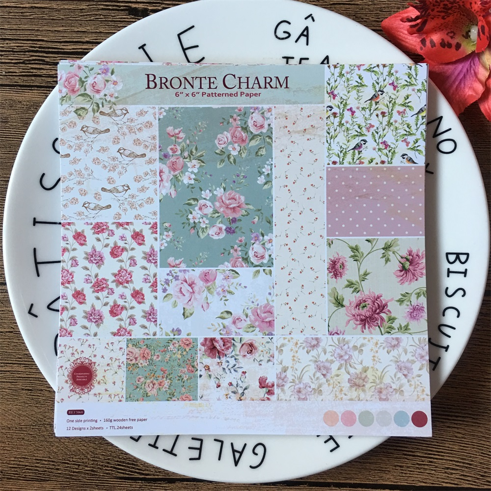 24pcs Pack 6 6inch 15 2cm Bronte Charm Patterned Paper Pack for Scrapbooking DIY Happy Planner Card Making Journal Project in Craft Paper from Home Garden