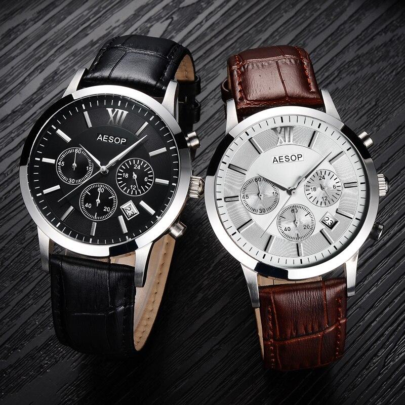 AESOP saphir cristal montre hommes Sport Quartz chronomètre montre-bracelet automatique Date cuir mâle horloge Relogio Masculino Hodinky nouveau 46 - 6