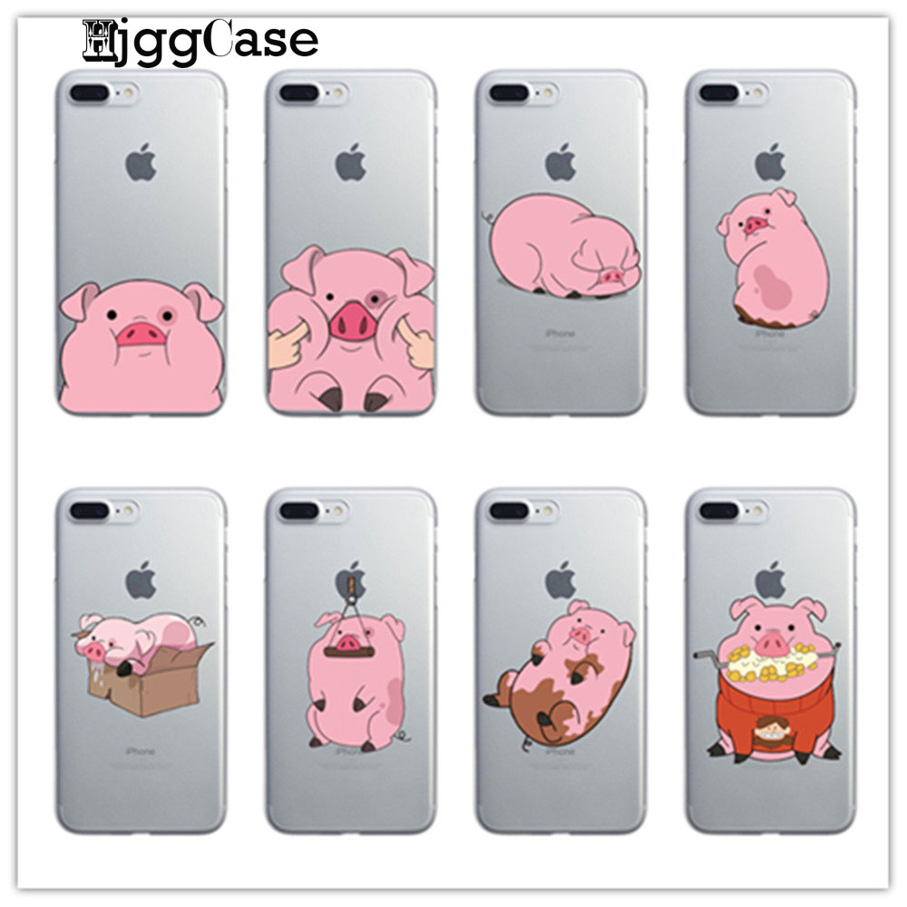 Gravity Falls Waddles Pink Pig Case For iPhone 7 6 6S Plus 5 5S SE 7Plus transparent Soft silicone phone Protective sleeve Аппаратный порт