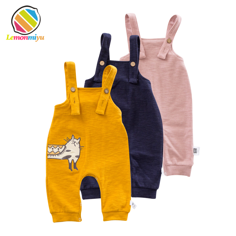 Lemonmiyu Cotton Toddler Bib Overalls Cartoon Animal Cat Baby Boy Girl Bib Pants Spring Autumn Casual Loose Infant Trousers