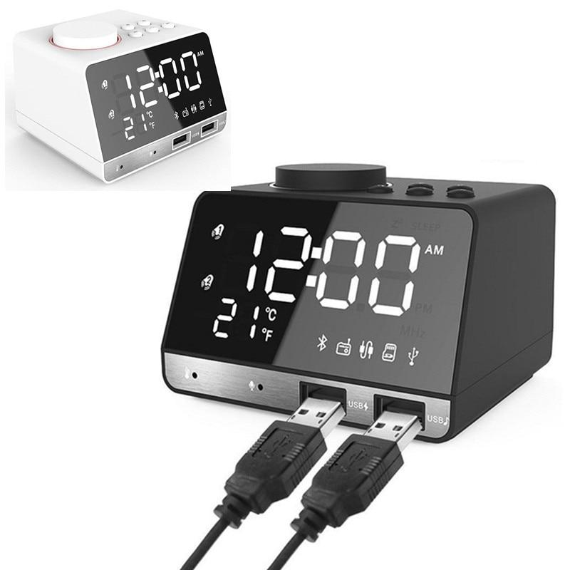Haut-parleur Bluetooth réveil Radio LED numérique Snooze horloge de Table avec 2 Interface USB LED de charge miroir horloge affichage de musique