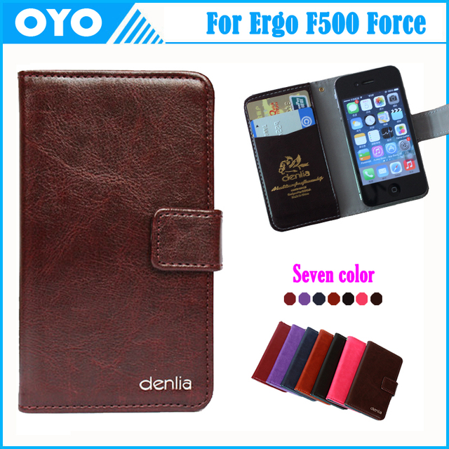 Ergo F500 Force Case 7 Colors Business Ultra-thin Cow Genuine Leather Exclusive For Ergo F500 Force Phone Cover+Tracking