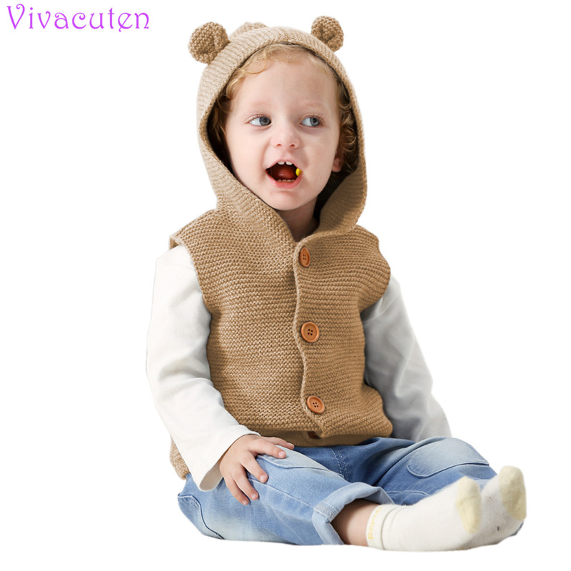 Boys' Baby Clothing Fashion Style New Kids Knitted Cardigan Autumn Children Hooded Sweater Bear Boys Clothing Baby Sweaters Infant Girls Single-breasted Jacket