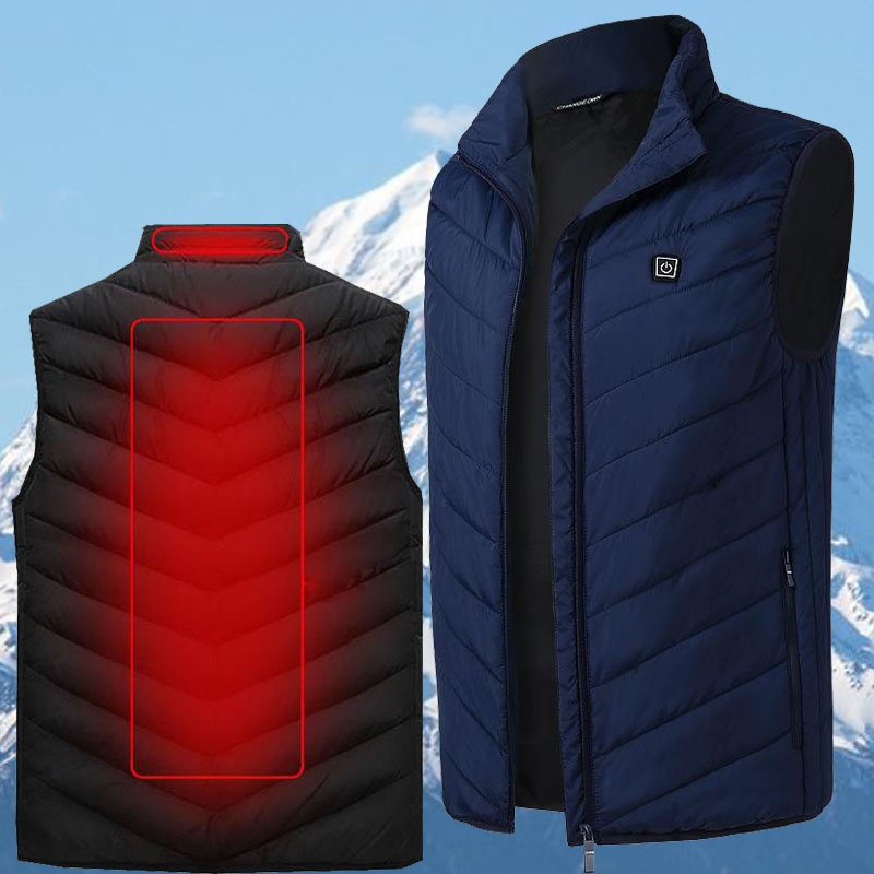 Men Winter Outdoor Heated Smart USB Work Heating Sleeveless Jacket Coats Adjustable Temperature Control Safety Clothing DSY004