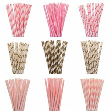 25pcs Lot Gold Pink Paper Straws For Kids Happy Birthday Wedding Decorative Event Party Supply