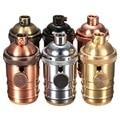 E26/E27 Solid Brass Lamp Socket 6 Finishes Vintage Edison Light Holder Industrial Bulb Pendants 3 Way Knob Lamp Bases