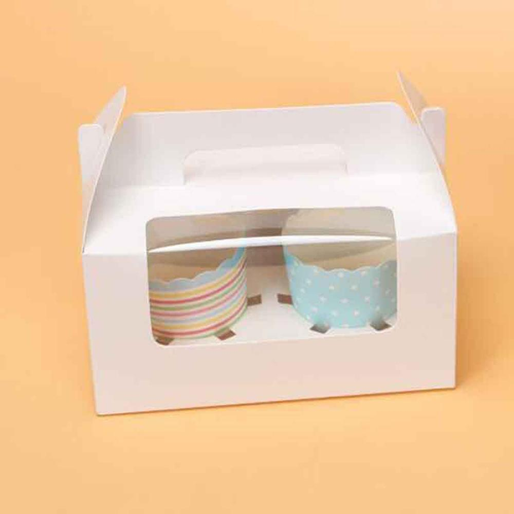 6Pcs Two Case White Pink Blue Kraft Paper Cupcake Box Cake With Clean PVC Window Baby shower Party Favor Packaging