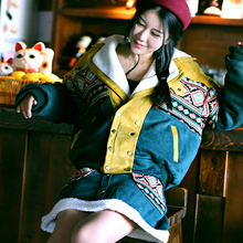 MX133 New Arrival Winter 2016 women vintage ethnic patchwork coat loose lambswool collar thick cotton padded suede jacket sets