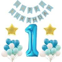 PRIMERA primera Fiesta de Cumpleaños de CUMPLEAÑOS DECORACIÓN SET para la Muchacha Del Muchacho, Azul Feliz Cumpleaños Bunting Banner Oro Sigin