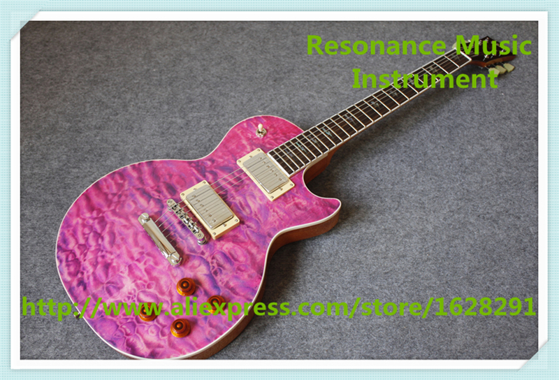 New Arrival China Purple Quilted Finish LP Custom Electric Guitars With Bolt Lightning Inlay For Sale 100% real pictures lp custom electric guitars china quilted finish mahogany guitar body for sale
