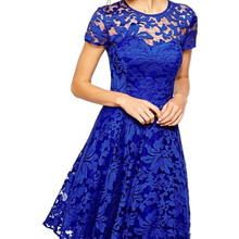 2019 Summer Short Dresses Casual A-Line Patchwork Lace Short Sleeve Round Neck E