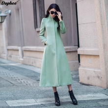 2017 New Fashion Winter X-long Woolen Trench Coat Women's Plus Size Green Color Stand Collar Long Wool Jackets Coats
