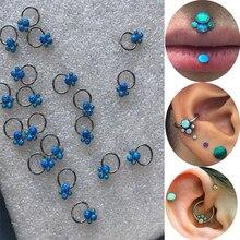 Hot koop nieuwste 16gauge (1.2mm) rvs cluster opal tragus helix kraakbeen conch daith labret ring piercing oorbel