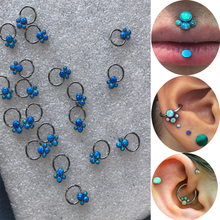 Hot sale newest 16gauge(1.2mm) stainless steel cluster opal tragus helix cartilage conch daith labret ring piercing earring