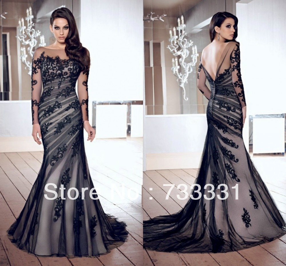 Sheer Sleeves Bateau Lace Appliques Formal Evening Gowns Dresses ...