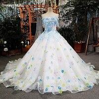 LS00157 elfenbein hochzeit kleid mit blaue spitze blumen lace up zurück online-shop china vestidos de noiva 2018 robe de mariee