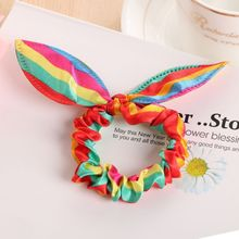 5pcs/Korean version of the fashion stretch cute rabbit ears hair accessories girls multi-color ring new products