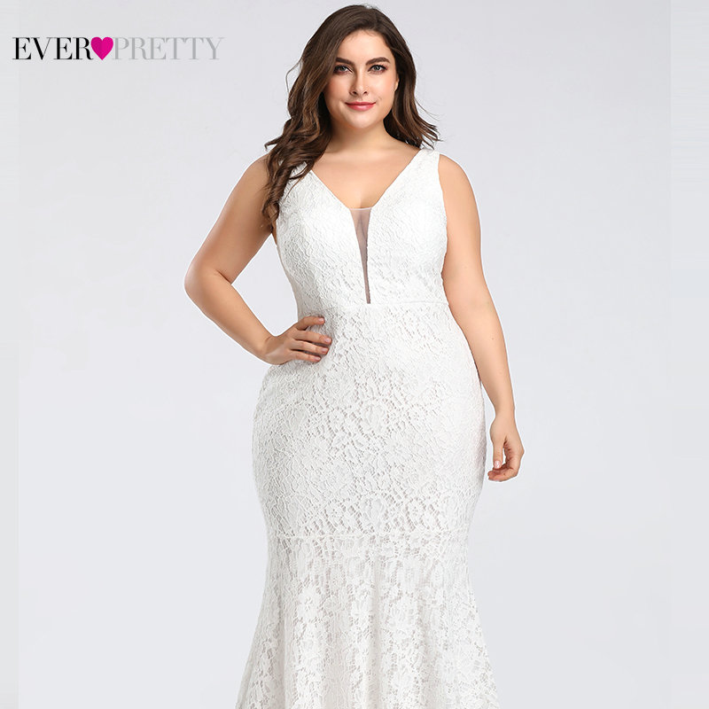 Plus Size Prom Dresses 2019 Ever Pretty EP08838 Elegant Mermaid Lace Sleeveless V neck Long Party