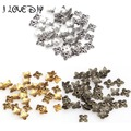 Wholesale 100pcs in Bulk Gold Leaf Metal Bead Caps Silver 6mm for Jewelry Making
