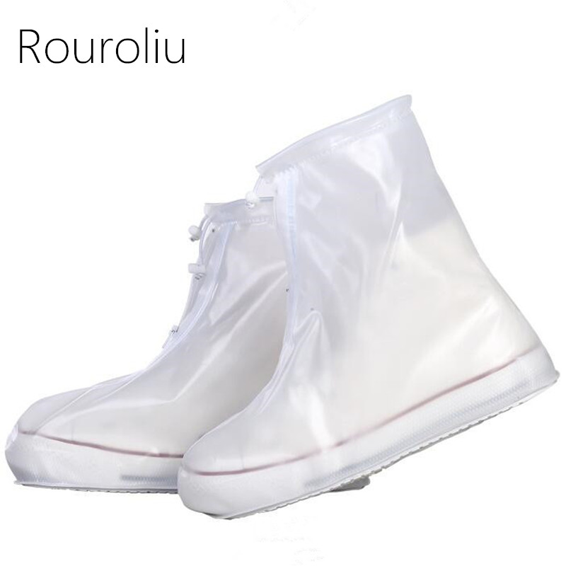 Rouroliu Reusable Rainproof Waterproof Shoes Covers Anti Slip Hard Wearing Thick Overshoes Unisex Shoes Accessories RB167