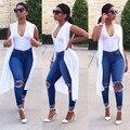 Nuevos Jeans de Moda Gran Agujero Pantalones Vaqueros Del Lápiz de Talle Alto Azul Flaco Ripped Jeans Mujer Washed Denim Pantalones de Las Señoras Pantalones