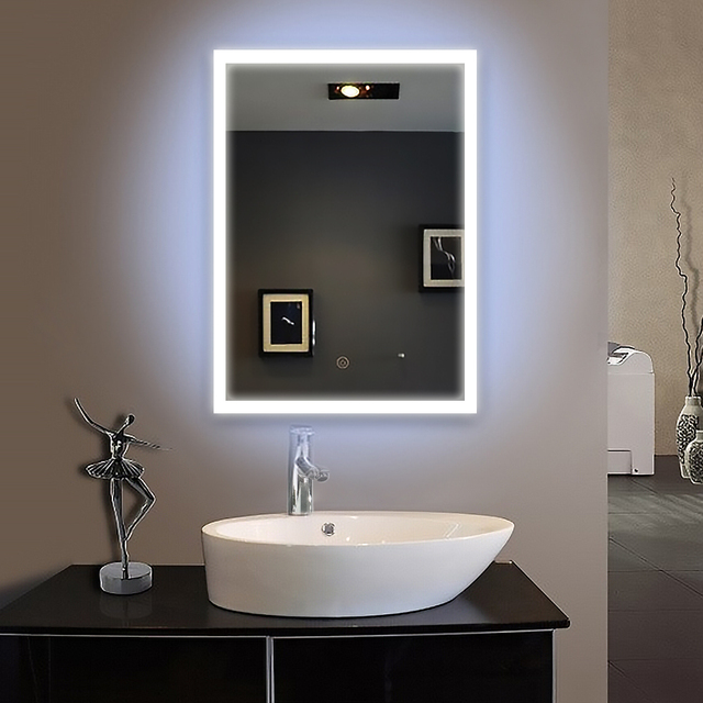Frame led illuminated framed bath mirror 60x80cm bathroom for Mirror 90 x 90
