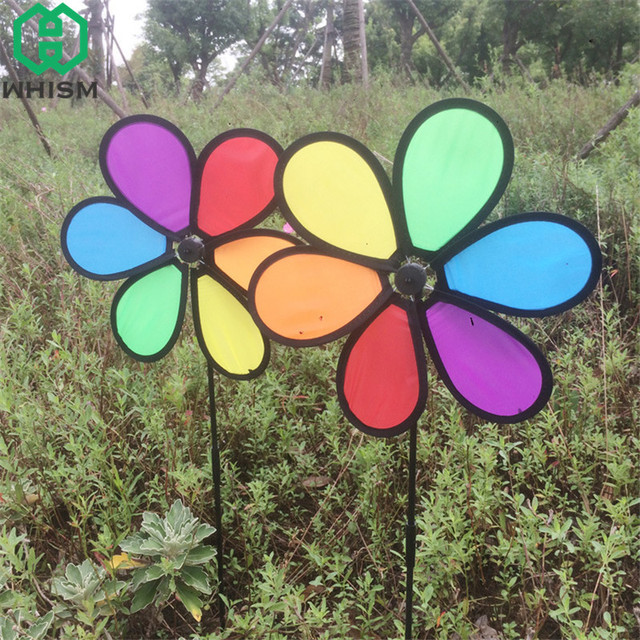 Whism Diy Colorful Flower Garden Windmill Children Wind Spinner Kids Whirligig Pinwheel Toy Yard Outdoor Decoration