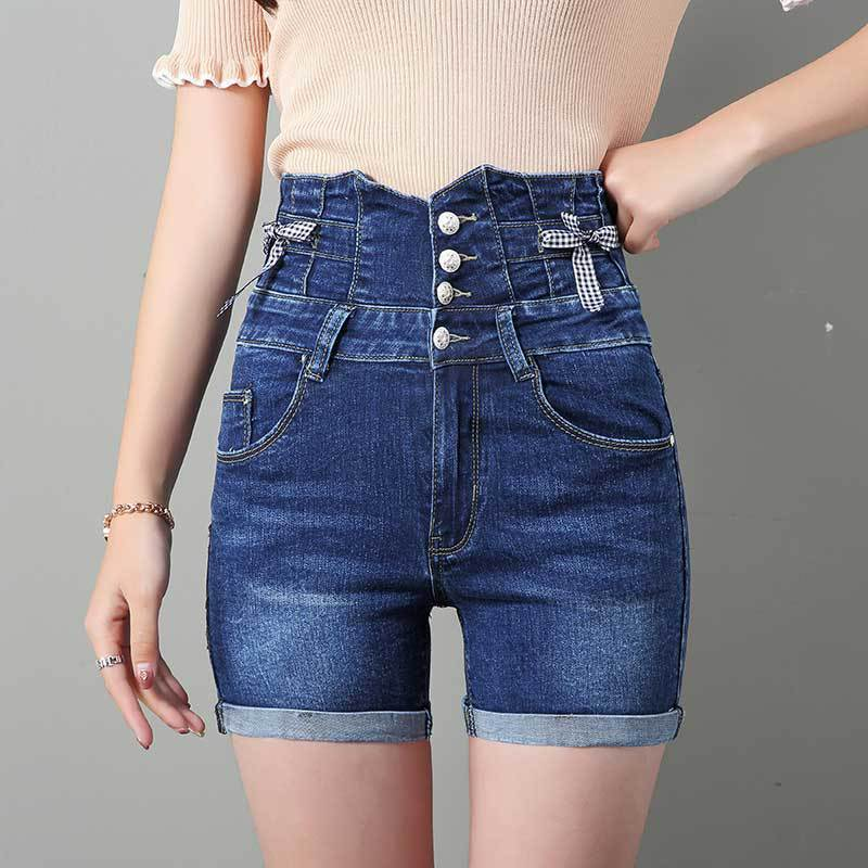 0619 High Waist Slim Fit Stretch Denim Shorts Women Single Breasted Plus Size Skinny Fashion Sexy Short Feminino in Shorts from Women 39 s Clothing