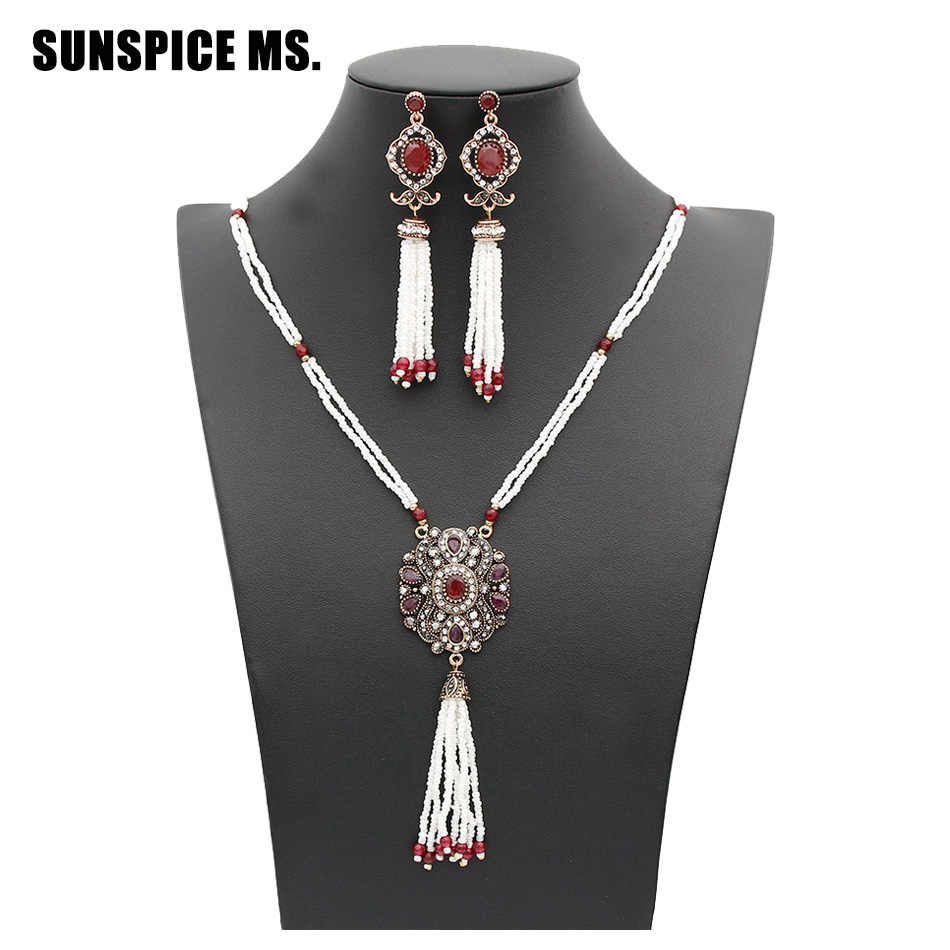 Elegant Turkish Women Bead Jewelry Sets Long Bead Tassels Earrings Resin Sweater Chain Antique Gold Color Ethnic Bridal Bijoux