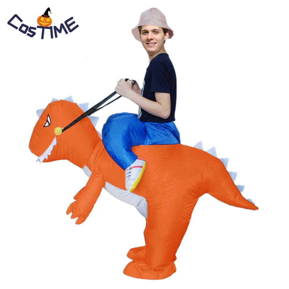 Adult Inflatable Dinosaur Costume Blow Up Dragon Fancy Dress Ride on Orange Dinosaur Inflatable Costume Halloween Party Costumes