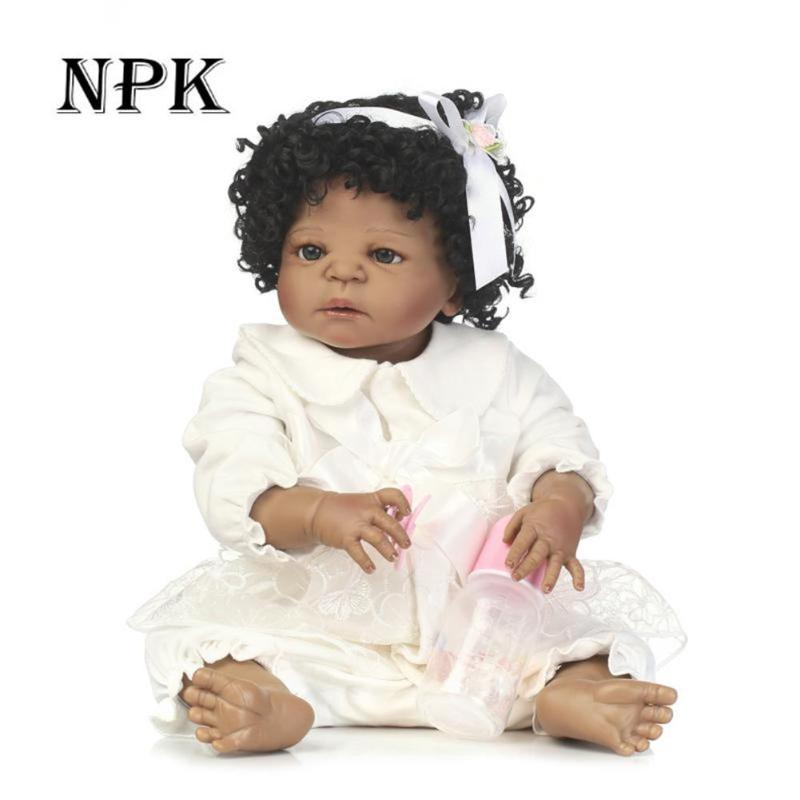 NPK 56cm/22 Curly Hair Simulation African Reborn Baby Emulated Baby Doll Kids Playmate Gift Toys Silicone Black Newborn Girl