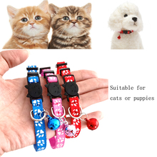 Puppies Cats Collar with Little Bells Paw Printed Cute Collars for Small Pets