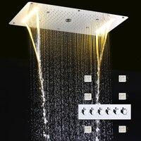 Ванная комната смесители для душа набор Led Большой дождь Насадки для душа Панель высокая пропускная переключатель смеситель клапан массаж