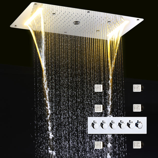 Bathroom Shower Faucets Set Led Big Rain Shower Head Panel High Flow  Diverter Mixer Valve Massage