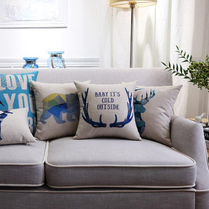 ᗑCojín funda de almohada cojín decorativo del tiro acuarela azul ...