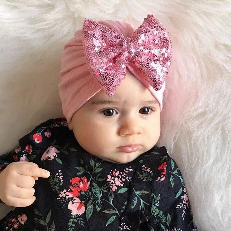 Shiny Big Bow Baby Hat Cotton  Newborn Baby Beanie Cap Elastic Headbands Striped Turban Infant Baby Hair Accessories