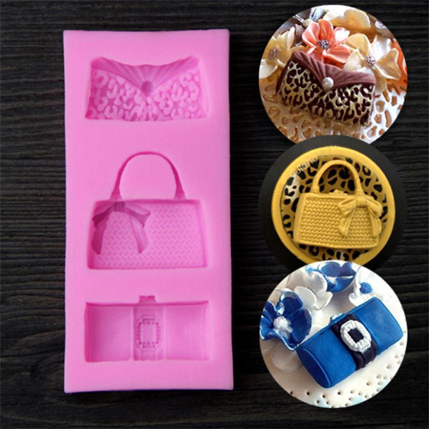 Luyou კრეატიული ქალბატონის ჩანთა ფორმა სილიკონის Fondant Mould DIY სილიკონის შოკოლადის ჩამოსხმა 3D ტორტი დეკორატიული ფორმით Fondant Tools FM141
